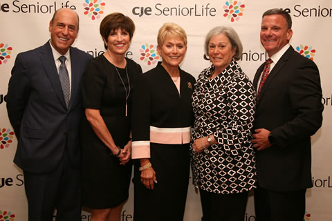 L-R: CJE Board Chair Kalman Wenig, CJE Vice President Resource Development Stephanie Millman Smerling, Celebrate CJE Co-Chairs Vicki Pines and Susan Ringel Siegel, and CJE President & CEO Dan Fagin at CJE SeniorLife's annual fundraising gala, Celebrate CJE