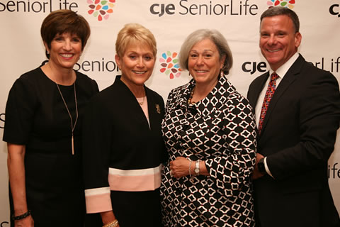 L-R: CJE Vice President Resource Development Stephanie Millman Smerling, Celebrate CJE Co-Chairs Vicki Pines and Susan Ringel Segal, and President & CEO Dan Fagin at CJE SeniorLife's annual fundraising gala, Celebrate CJE, held September 8 at Palmer House Hilton.