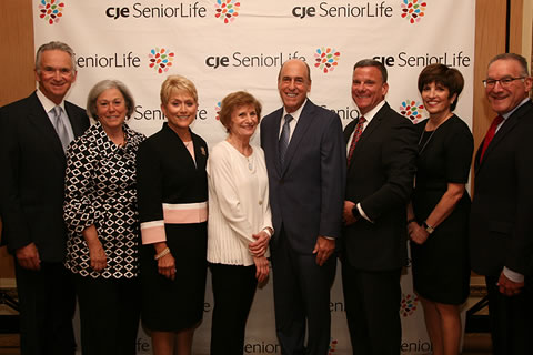 Celebrate CJE Leadership Committee at CJE SeniorLife's annual fundraising gala, Celebrate CJE, held September 8 at Palmer House Hilton. Pictured (L-R) Allan Goldstein, Susan Ringel Segal, Vicki Pines, Linda Soreff Siegel, Kal Wenig, CJE President & CEO Dan Fagin, CJE Vice President Resource Development Stephanie Millman Smerling, and Jim Feldman.