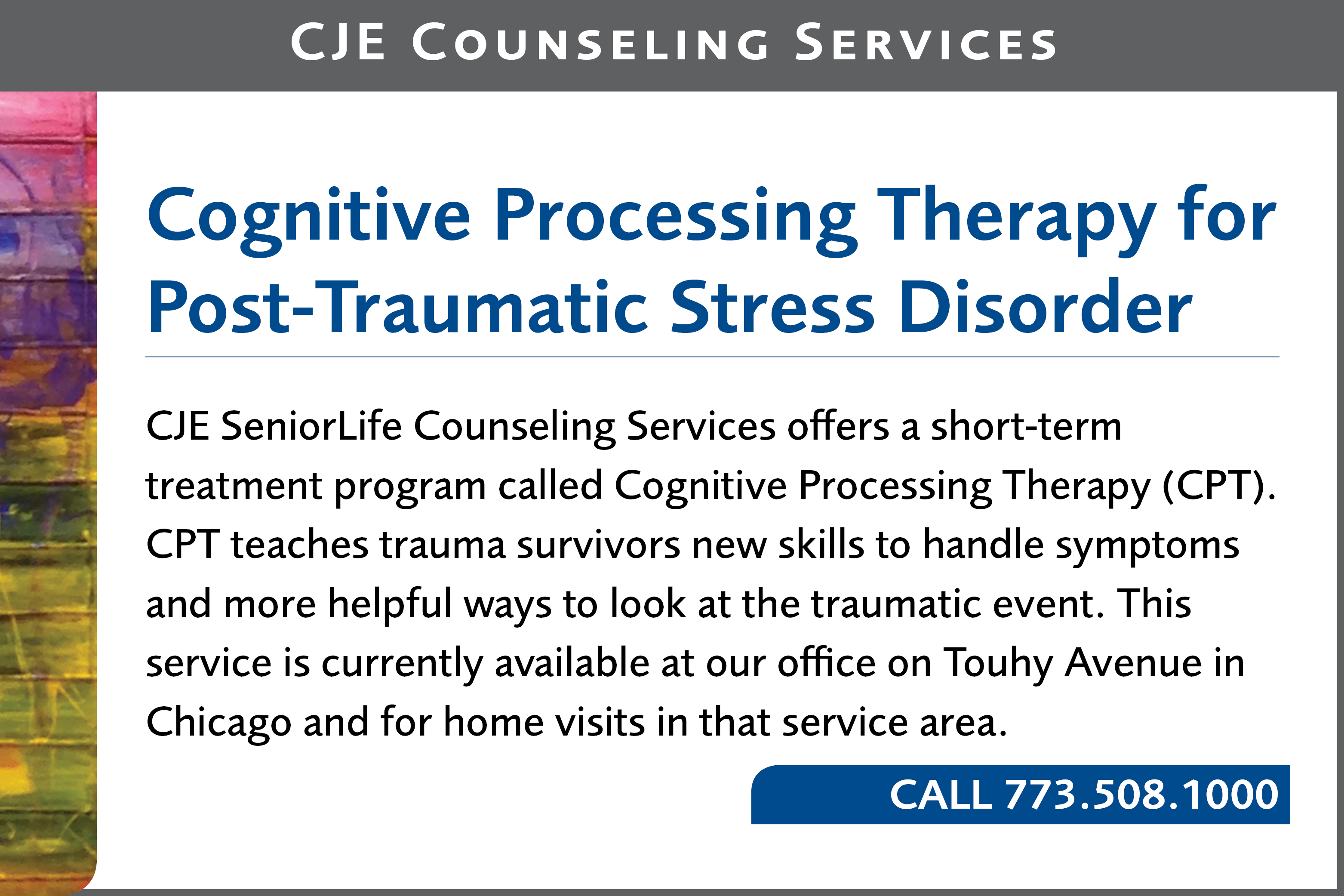 Cognitive Processing Therapy for Post-Traumatic Stress Disorder