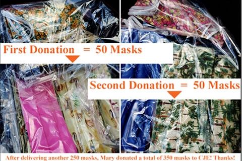 CJE Volunteer Donates Masks, and Masks, and More Masks!